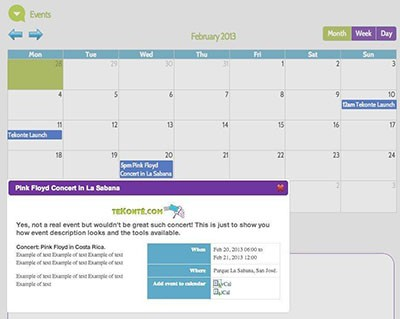 Calendar of events for FAQs